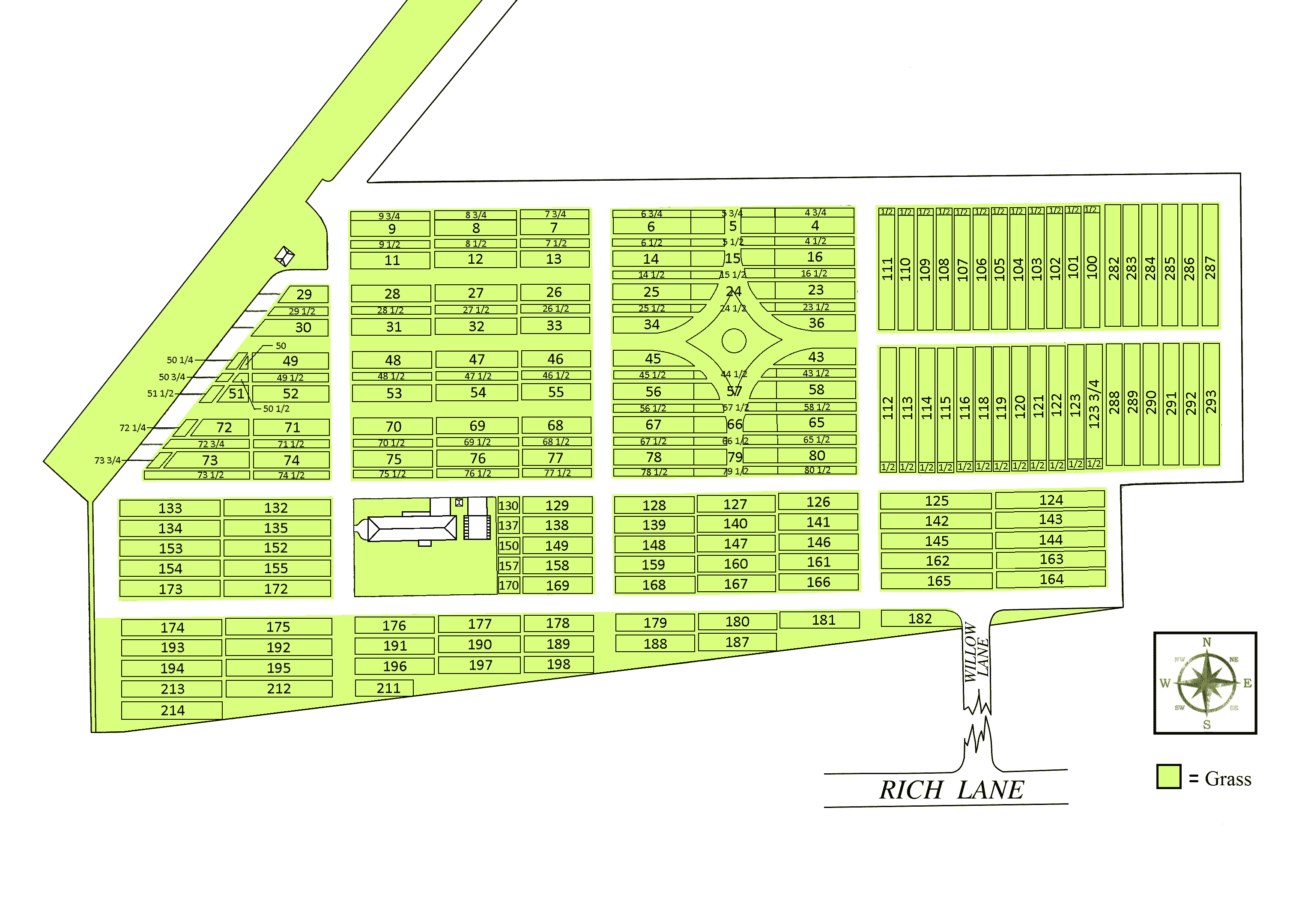 Overview map of the cemetery.